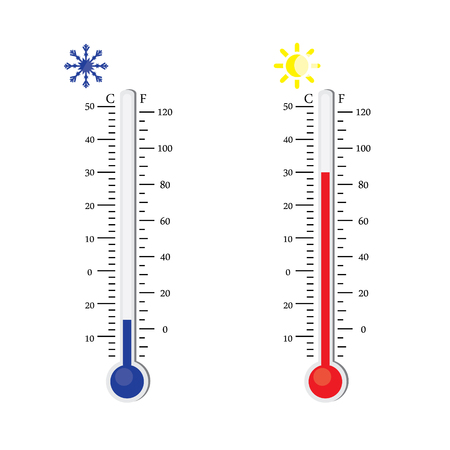 weather report: Thermometer icon. raster. Celsius and Fahrenheit. measuring hot and cold temperature. Sun and snowflake winter and summer symbols