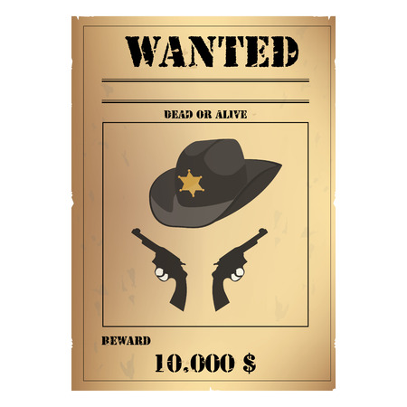 lawlessness: raster illustration vintage western wanted poster template. Wild West. Old wanted placard poster template, with dead or alive inscription, money cash reward as in western movies Stock Photo