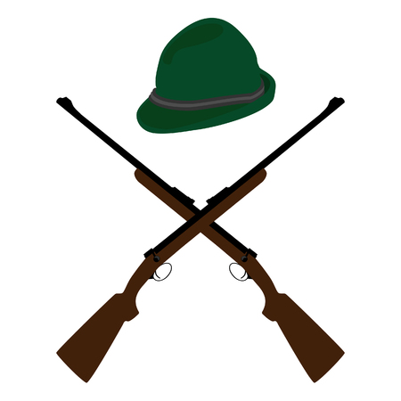 old rifle: raster illustration of two crossed old rifle and green hat. Bavarian hat. German hat