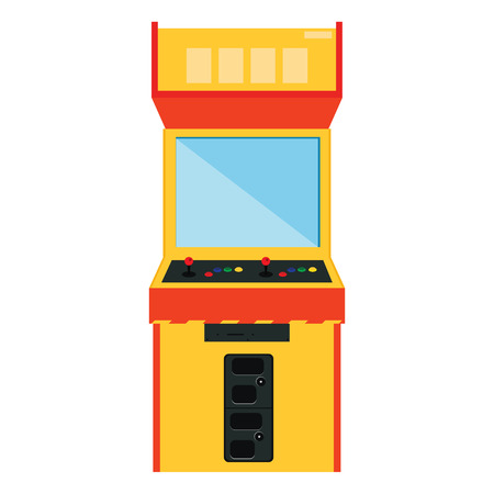 space invaders: Vector illustration retro arcade game machine. Gaming machine flat icon