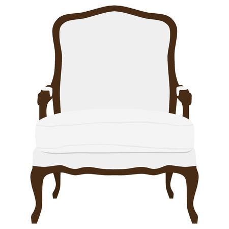 ベクトル図ビンテージ ホワイト肘掛け椅子。エレガントな現実的なアームチェア