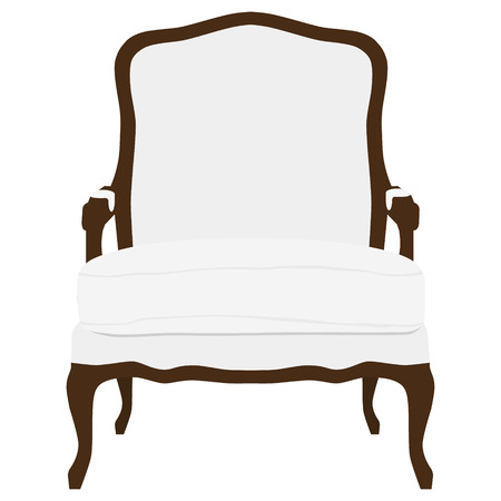 Vector illustration vintage white armchair. Elegant realistic armchair