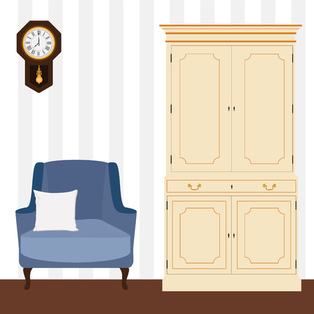 white pillow: Vector illustration white vintage cabinet and blue armchair with white pillow . Retro interior furniture Illustration
