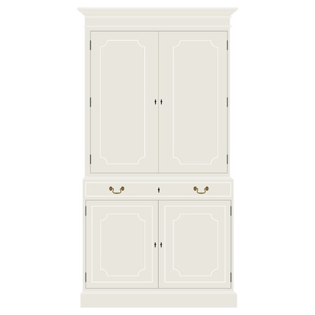 baroque room: Vector illustration white vintage cabinet. Retro interior furniture