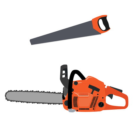 chain saw: Vectot illustration realistic chainsaw and hand saw. Petrol chain saw. Professional instrument, working tool. Chainsaw icon Illustration
