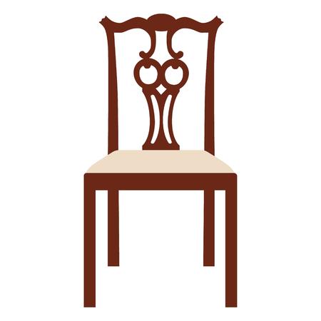 silla de madera: Ilustración del vector de la vendimia silla blanca de madera. Silla elegante realista