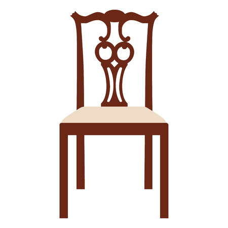chair wooden: Vector illustration vintage wooden white chair. Elegant realistic chair