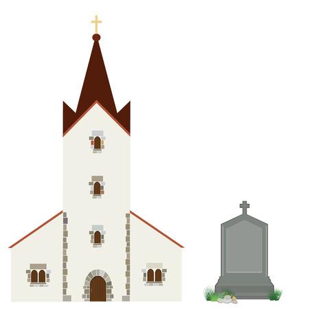the church: edificio iglesia ilustración vectorial y lápida gris con la cruz. Icono de la iglesia. cristiana católica