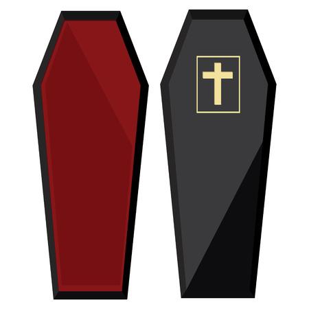 Vector illustration elegant black coffin with cross. Closed coffin