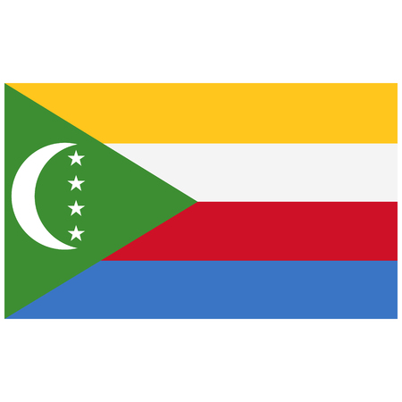 comores: Vector illustration Comoros flag vector icon. Rectangular national flag of Comoros. Comoros flag button Illustration