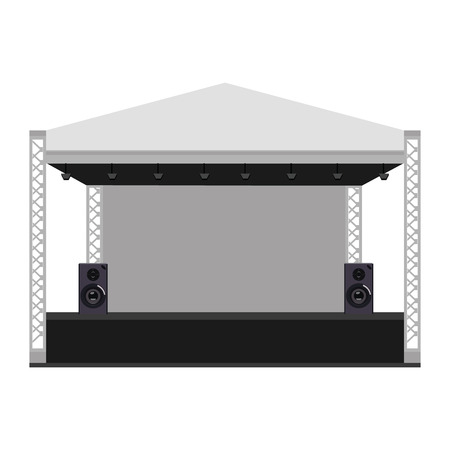Vector illustration outdoor concert stage, truss system. Podium concert stage. Performance show entertainment, scene and event. Vettoriali