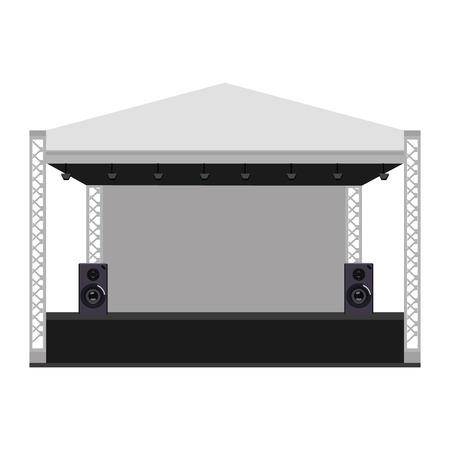 Vector illustratie openlucht concert podium, truss systeem. Podium concertpodium. Prestatie-show entertainment, scène en event.
