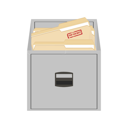 file folders: Vector illustration opened card catalog with file folders. Office furniture. Metal filing cabinet. Top secret Illustration