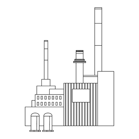 industrial building: Vector illustration factory power electricity industry manufactory building flat decorative icon. Industrial building factory