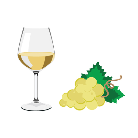illustation: Vector illustation wine glass with white wine. White grapes with green leaves Illustration
