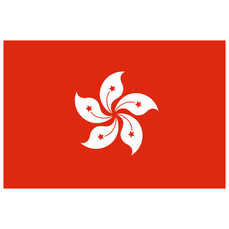 hongkong: Vector illustration Hong Kong flag vector icon. Rectangular national flag of Hong-Kong. Hongkong flag button