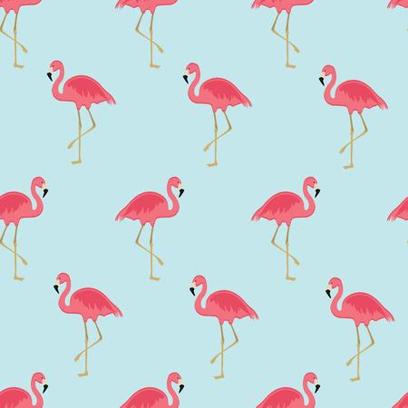 flamenco ave: ilustración vectorial sin patrón con el flamenco rosado. aves exóticas