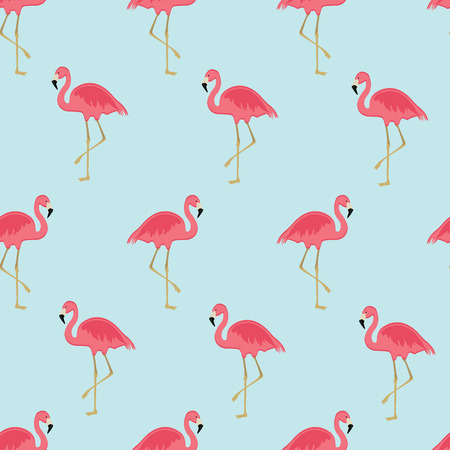 Vector illustration seamless pattern with pink flamingo. Exotic bird