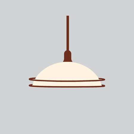 suspend: Vector illustration retro light hanging lamp isolated on grey background.