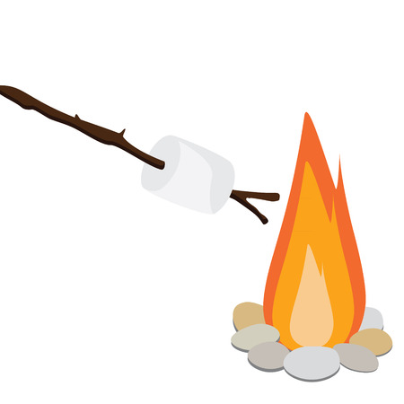 campfire: Vector illustration marshmallow on wooden stick roasting on campfire. Bonfire with marshmallow