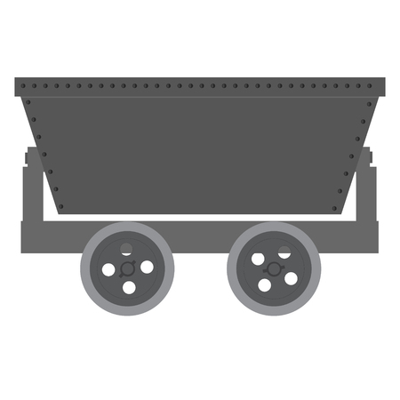 ore: Vector illustration empty trolley mine for resource delivery. Wagon for coal, minerl, ore. Minecart Illustration