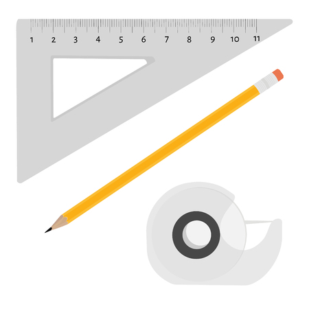 scotch: Vector illustration scotch tape, pencil and triangle ruler office, school stationery tools.