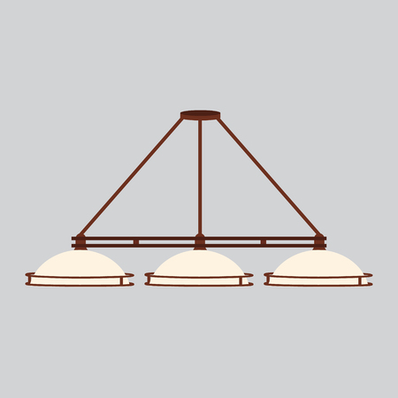 Vector illustration lamp, lights for pool or billiard table. Lamp with three shades