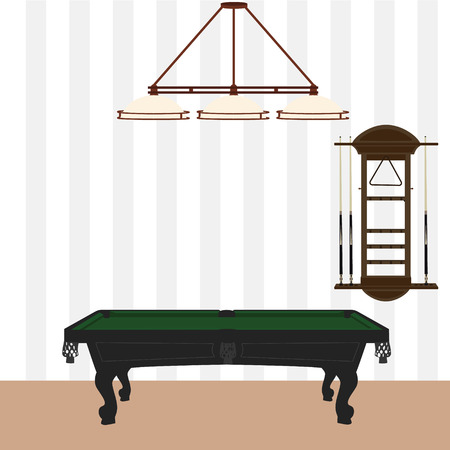 Vector illustration retro, vintage pool table with green cloth, wall cue rack and lamp with three shades. Pool, billiard room