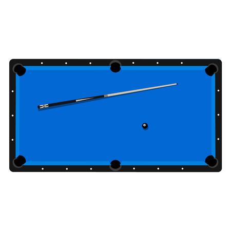bola ocho: Ilustraci�n del vector mesa de billar realista con ocho bolas de billar y pista, palillo. mesa de billar con vista al techo de lona azul