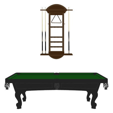 cue: Vector illustration retro, vintage pool table with green cloth and  cue wall rack.