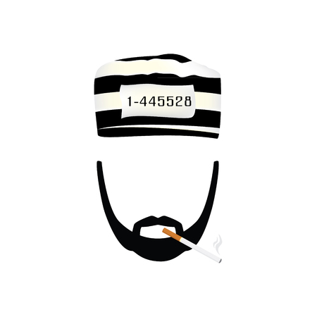 cigar cartoon: Vector illustration prisoner in hat with number on stripted hat and burning cigarette. Gangster with mustache and beard