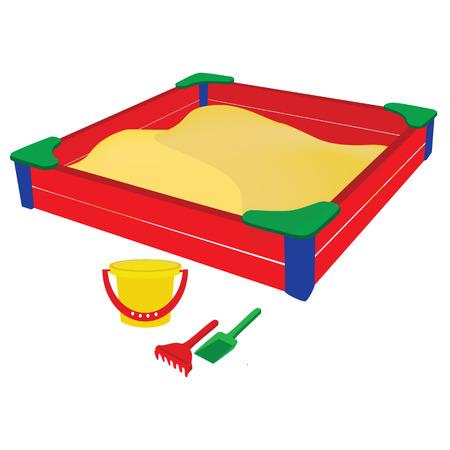 Ilustracja wektora kolorowe piaskownica z zabawkami dla dzieci, wiadra piasku łopatą i prowizji. zabawki plażowe