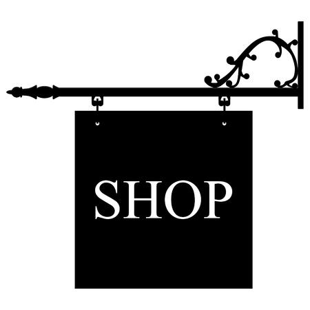 retailer: Vector illustration vintage, old shop sign. Signage shop sign route hanging information banner retailer.