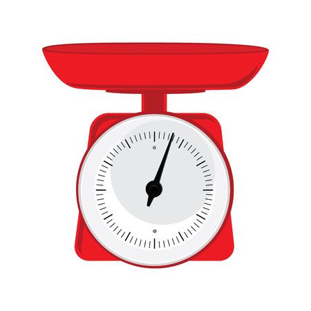 Vector illustration red weight scale on white background. Weighing scales with pan and dial  for weight measurement. Kitchen appliances or measuring tool