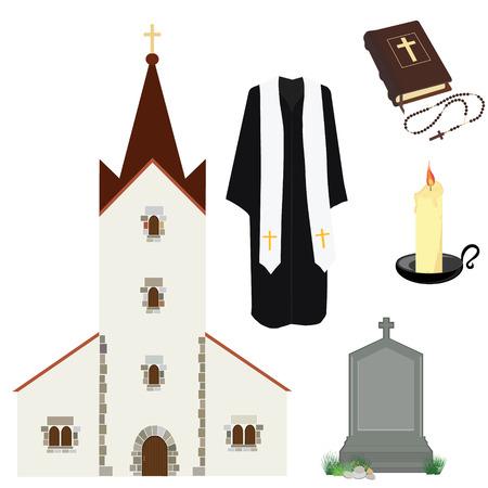 różaniec: ilustracji wektorowych proboszcz modlitwy kapłan lub kaznodzieją odzieży. Biblia i Różaniec z krzyżem. Nagrobek i budynku kościoła. symbole Religia