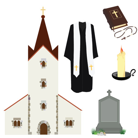 clergy: Vector illustration prayer priest pastor or preacher clothing. Holy Bible and rosary beads with cross. Gravestone and church building. Religion symbols