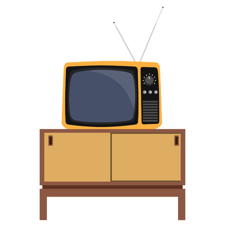 living room tv: Vector illustration classic living room interior design with retro tv and furniture.