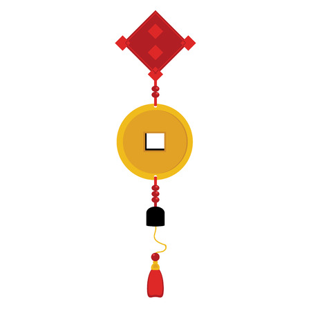 Vector illustration chinese new year ornament, hanging gold coin wealthy symbols. Golden coin. Ancient chinese coins
