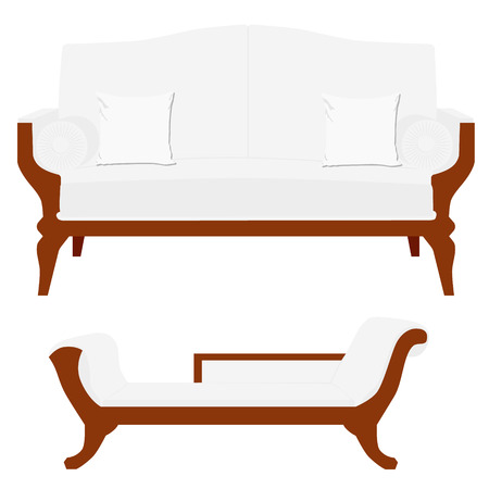 vintage furniture: Vector illustration sofa, divan or couch. Classic vintage furniture
