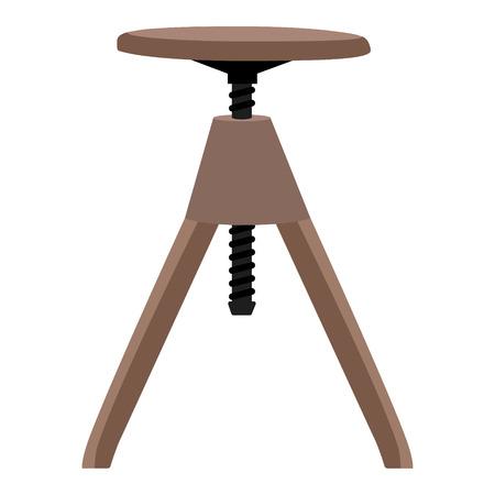 wooden stool: Vector illustration small wooden screw stool, tabouret.  Bar furniture