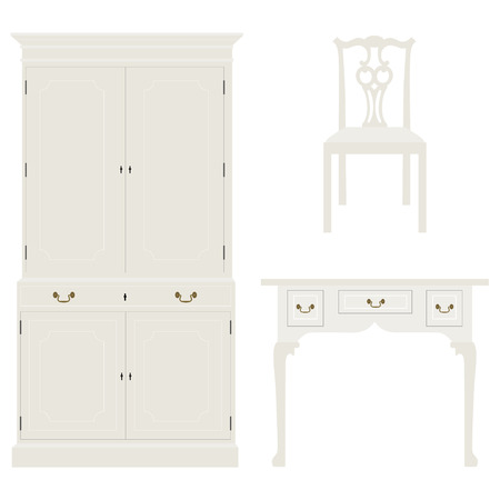 console table: Vector illustration vintage luxury white table, cabinet and chair. Retro furniture. Console table Illustration