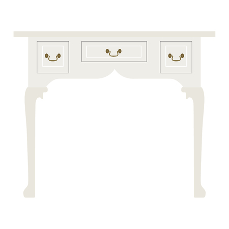 console table: Vector illustration vintage luxury white table. Retro furniture. Console table
