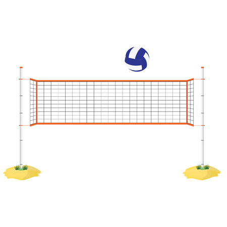Vector illustration beach volleyball net and ball. Orange indoor volleyball net on sand.