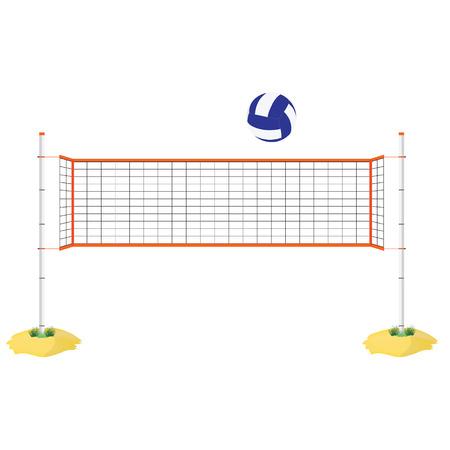 Vector illustration beach volleyball net and ball. Orange indoor volleyball net on sand.