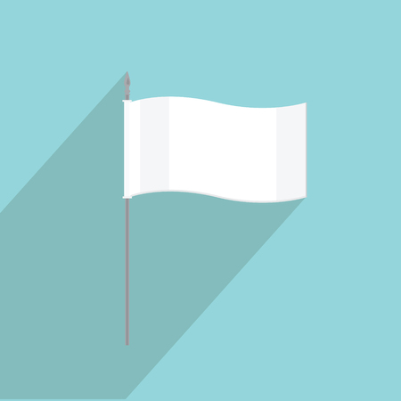 surrender: Vector illustration white flag flat icon on blue background. Small flag of surrender Illustration
