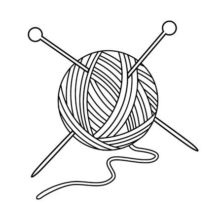 Vector illustratie overzicht tekening garen bal met gekruiste naalden voor het breien. Garen balpictogram