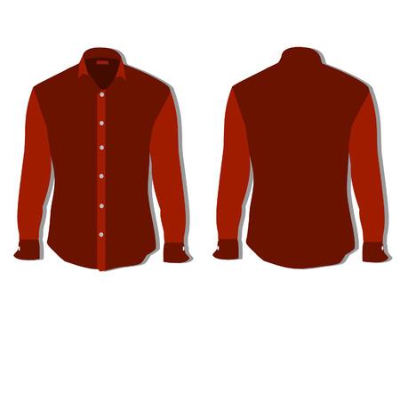 red shirt: Illustration of  t-shirt,  clothes,  man shirt, formal shirt,  red shirt,  shirt template Stock Photo