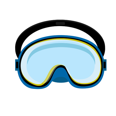 swiming: Blue diving mask, diving mask, mask isolated, diving equipment Stock Photo