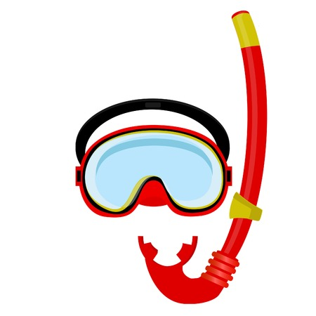 swiming: Red diving maks, diving tube, swimming equipment, snorkeling