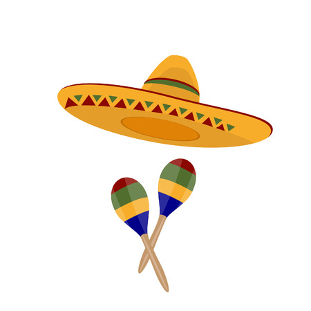 mexican hat: Sombrero, mexican hat, maracas raster, sombrero raster, mexico Stock Photo